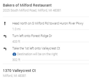 directions from bakers